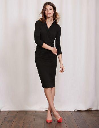 6ffa778eac6  Boden Ruched Wrap Dress Black Women Boden