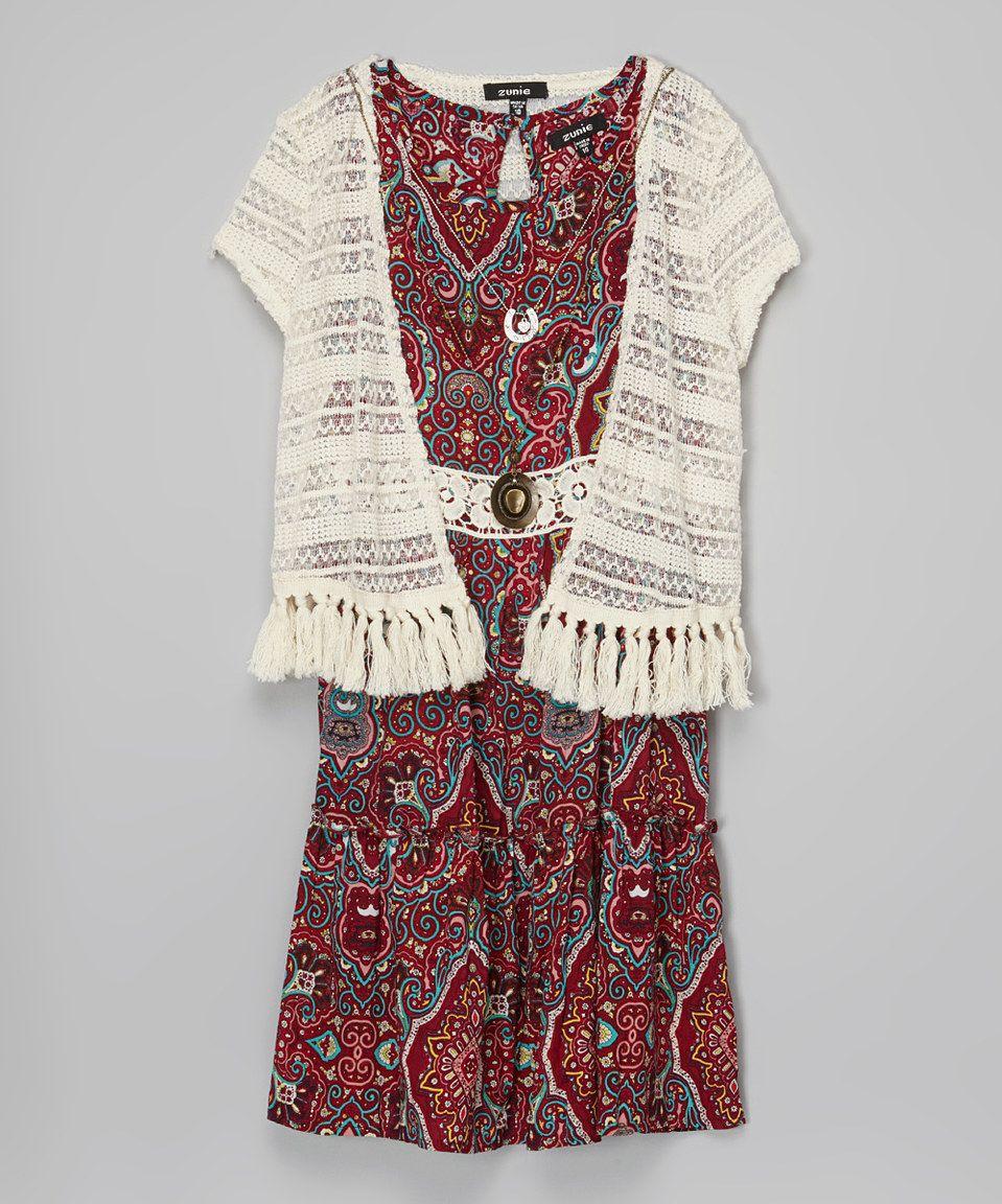960261698f This Zunie   Pinky Red   White Paisley Dress   Shrug - Girls by Zunie    Pinky is perfect!  zulilyfinds