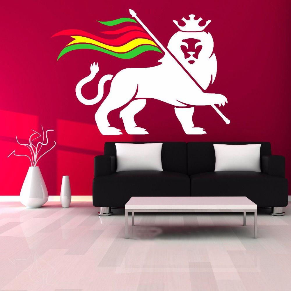 Rasta lion rastafari lion of judah bob marley giant wall sticker
