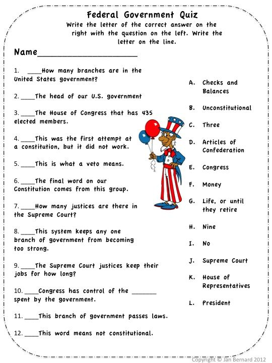 Three Branches of Government for Kids – Us Government Worksheets
