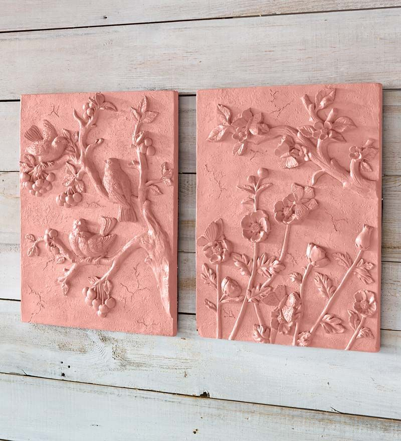 Decorative Terra Cotta Wall Plaque   Could I Make One Of These With Plaster  Of Paris