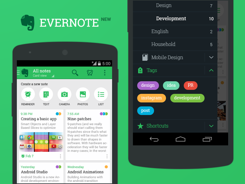New Evernote for Android Evernote, Android design, Notes