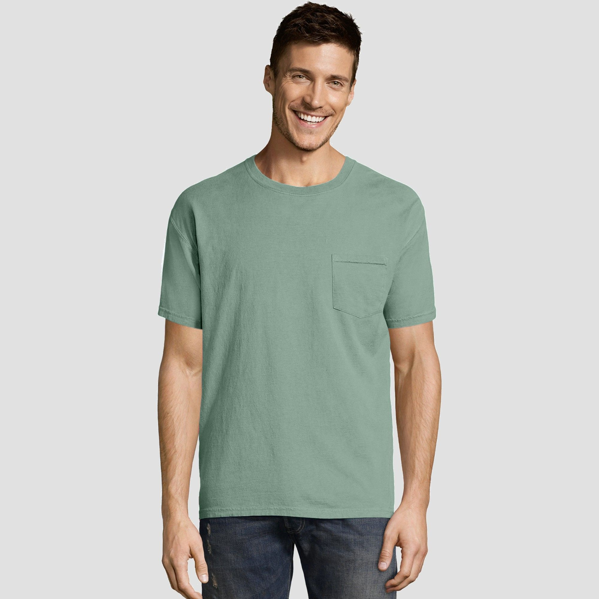 bcb7aa9ca0c Hanes Men s Short Sleeve 1901 Garment Dyed Pocket T-Shirt - Cypress ...