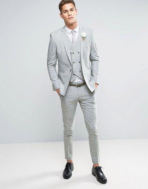 ASOS WEDDING Skinny Suit in Gray Crosshatch Nep | Wedding Suit ...