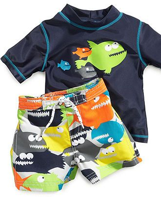 Sweet /& Soft Baby Boys 2-Piece Rash Guard and Trunk Swimsuit Set Long Sleeve Infant//Toddler//Big Kid