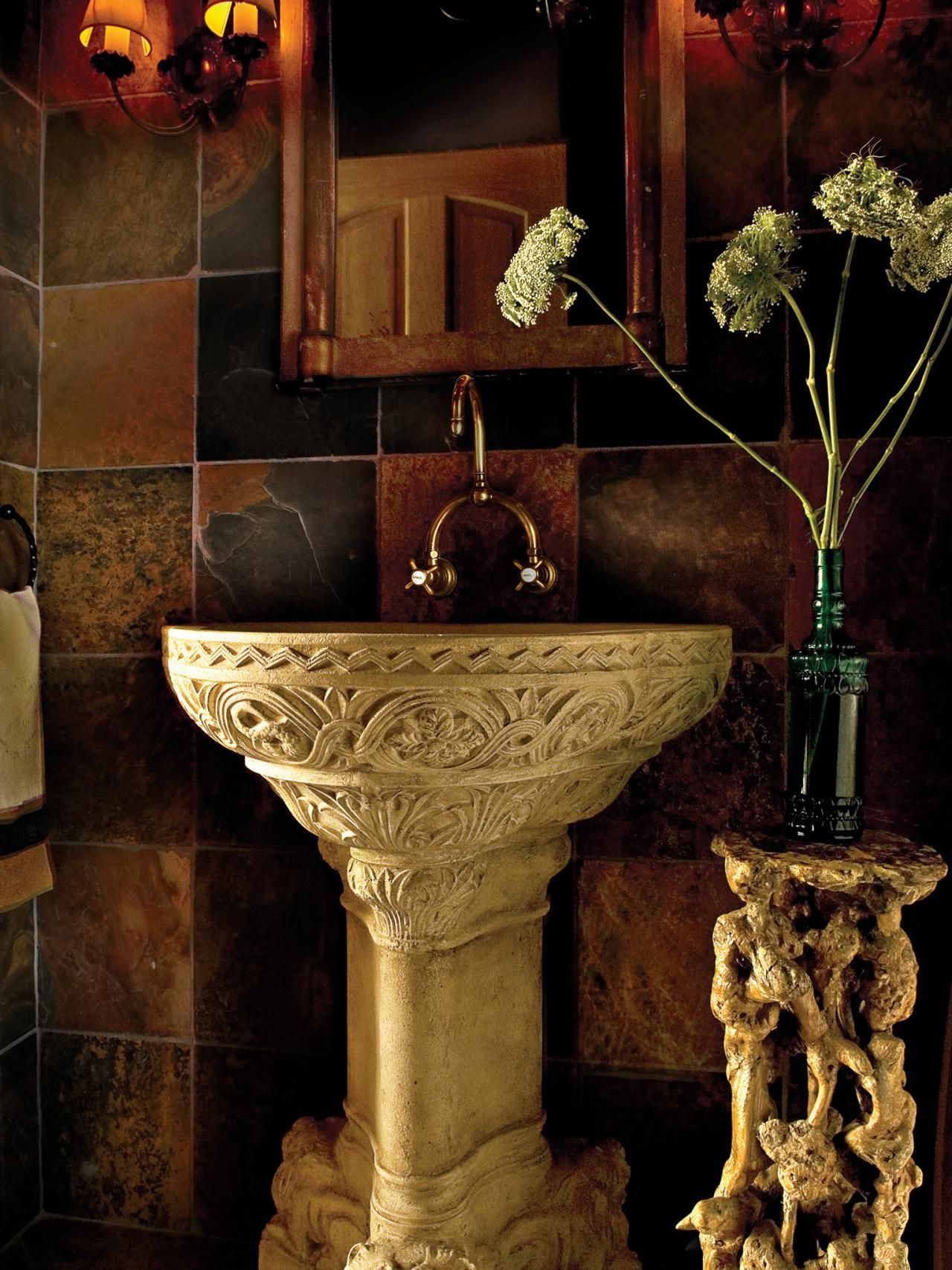 This Powder Room Is A Secret Grotto With Walls Covered In African Slate Slabs Accented By A Gilded Emp Tuscan Bathroom Tuscan Bathroom Decor Tuscan Decorating African style bathroom decor