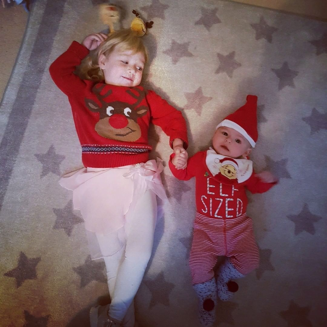 4e6cc94df 2 year old toddler girl. Rafe. 4 month old baby boy. Christmas outfits.  Fancy dress. Elf. Rudolph jumper. Pink tutu. Ballet dress. Rudolph boppers.