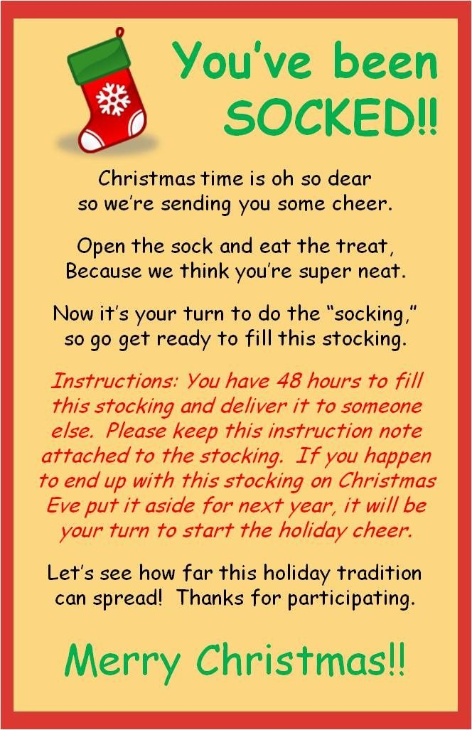 photo about You Ve Been Socked Printable named Youve Been SOCKED! (filling a stocking with Xmas