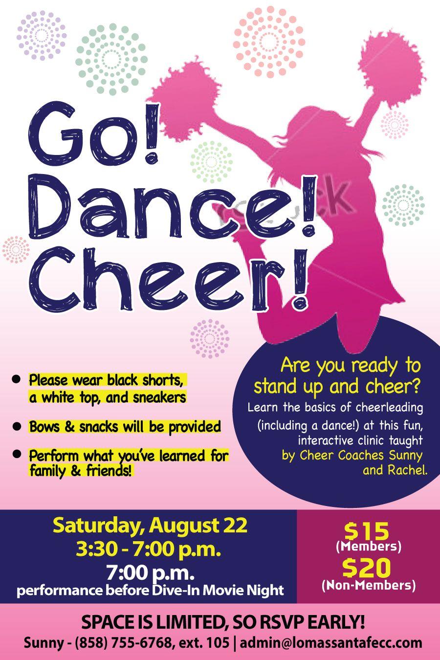 cheer clinic flyer poster design template kids pinterest cheer