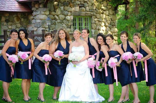 AriaDress bridesmaid dresses in midnight and petal silk shantung.