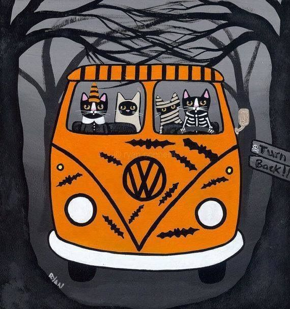Cats on the way to the Halloween party! - Ryan Conners Cat Folk Art