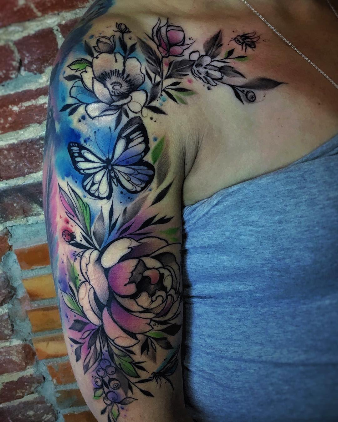 Watercolor half sleeve Watercolor tattoo sleeve, Tattoo