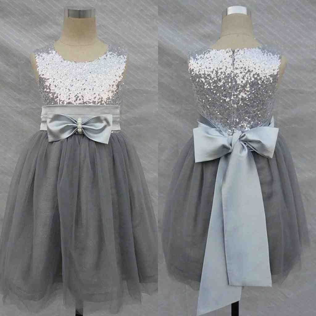 Pink And Grey Flower Girl Dresses
