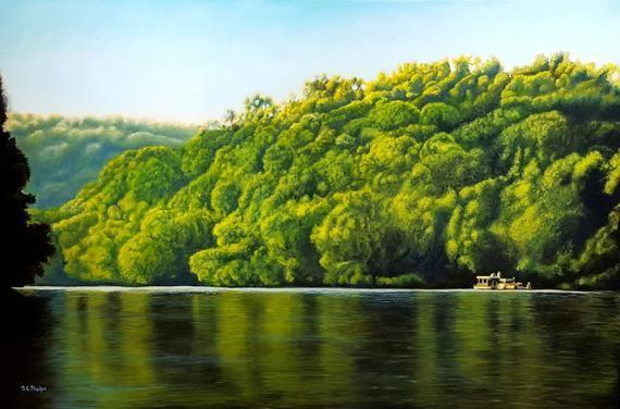 Smith Mountain Lake Art Scenery Painting Realistic Oil Painting Realism Painting Landscape Art Houseboat On Lake Painting In 2020 Scenery Paintings Lake Art Realism Painting