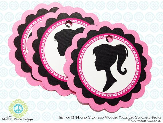 Barbie Vintage Silhouette 12 Favor Tags or by MasterPeaceDesigns, $20.00