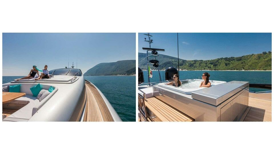 Riva Mythos - Fore Deck Seating & Sunpad and Sun Deck Jacuzzi ...