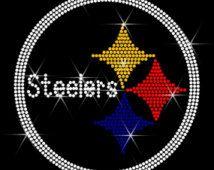 "Rhinestone Transfer /""Steelers Logo/"" Hotfix Iron On Bling"