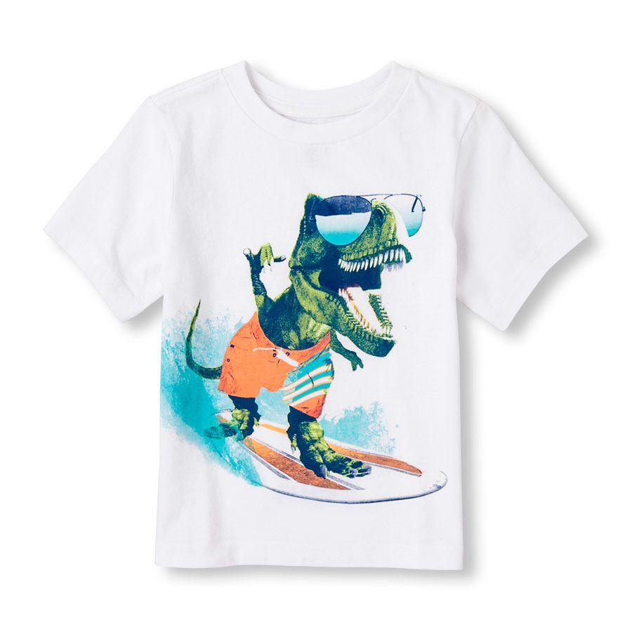 Toddler Boys Short Sleeve Surf Dino Graphic Tee Toddler