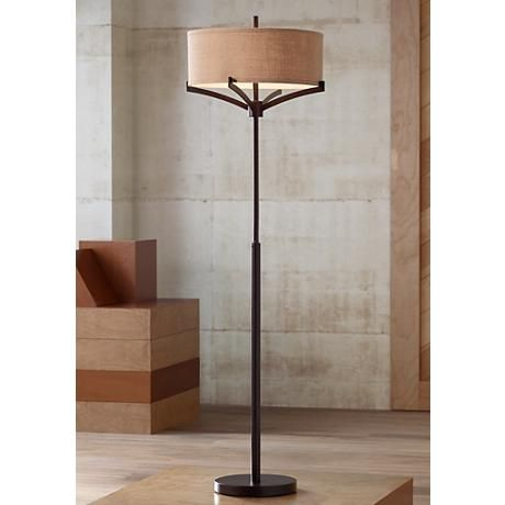 Franklin Iron Works Tremont Floor Lamp With Burlap Shade 2j445