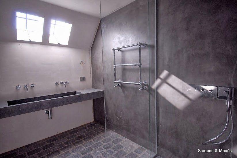 Stoopen en meeuw badkamer douche wastafel stuc deco granito kalkverf kalkstuc en kalei - Kleine badkamer deco ...