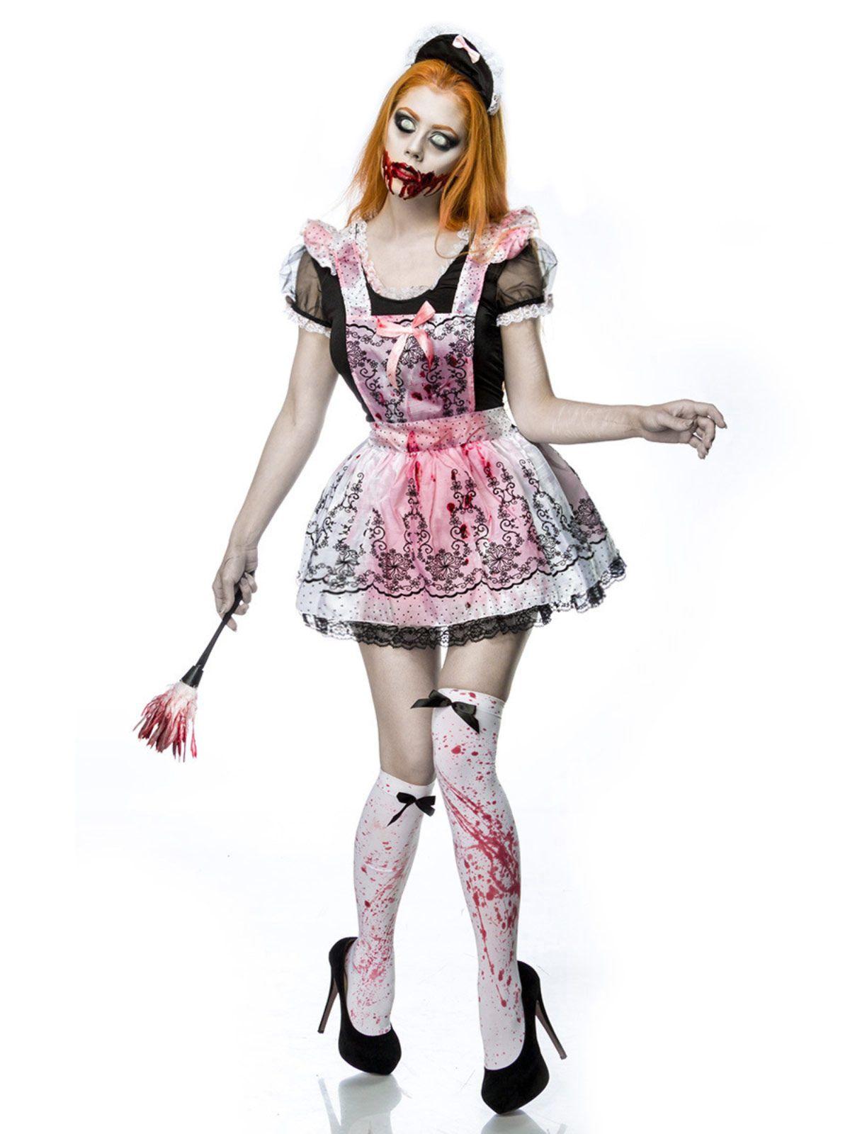 zombie zimmerm dchen halloween damenkost m komplettset. Black Bedroom Furniture Sets. Home Design Ideas