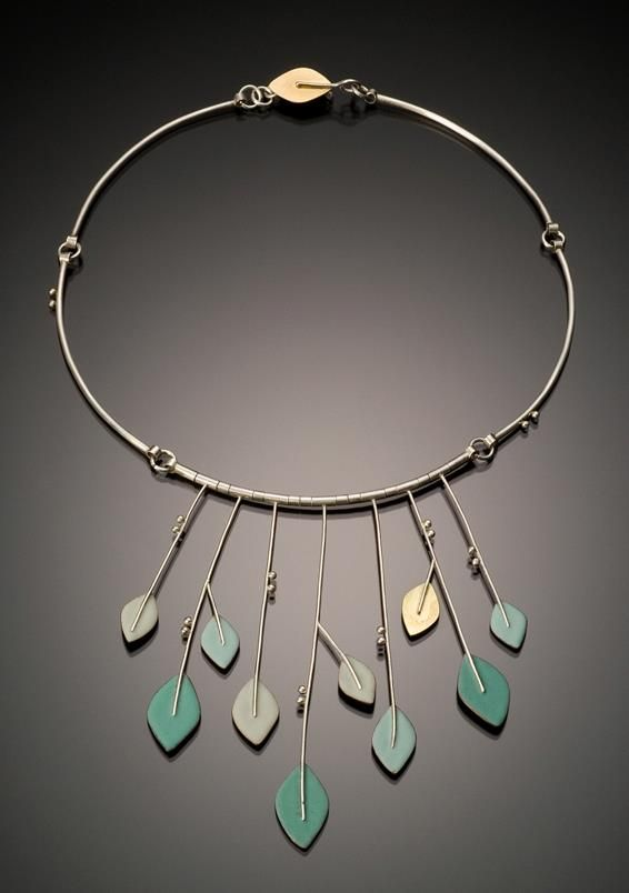 Angela Gerhard Necklace for Spring Sterling silver, 18-karat gold, copper, enamel; sifted, etched, soldered http://www.angelagerhard.com/