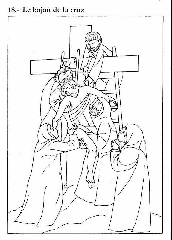 Pinto Dibujos: Bajan a Jesús de la Cruz – Dibujo para colorear ...