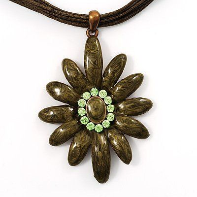 Olive Enamel Multi-Stranded Floral Pendant Avalaya. $14.38. Metal Finish: copper. Occasion: casual wear. Gemstone: diamante. Material: enamel, cords. Theme: floral, flower