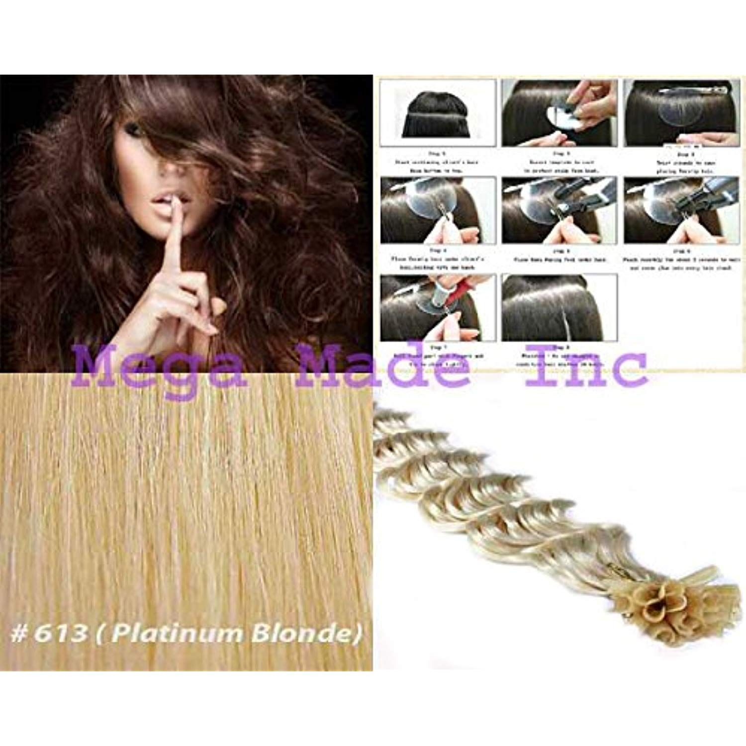 New 25 Strands Deep Wave Curly Pre Bonded U Nail Tip Fusion Remy