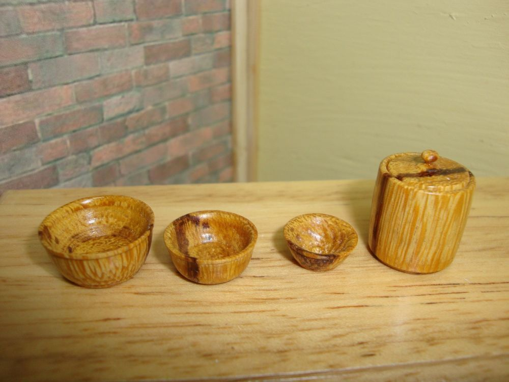 """Dollhouse Miniature 1:12 Cookware & Tableware Nesting Bowls Canister """"OOAK"""" #I7"""