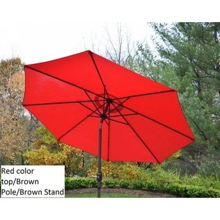 Oakland Living Corporation Polyester 9-foot Market Umbrella (Beige/Red)(Iron), Patio Umbrella #largeumbrella
