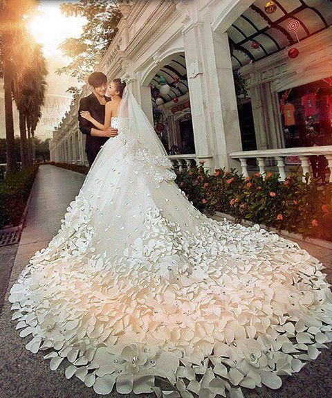 wedding dress #petals #detail #train