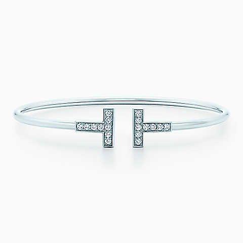 Tiffany T wire bracelet in 18k white gold with diamonds, medium.