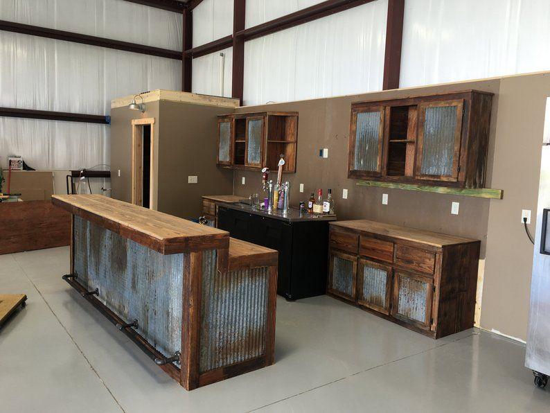 Rustic Barnwood Bar w/ Bar Chairs Bundle