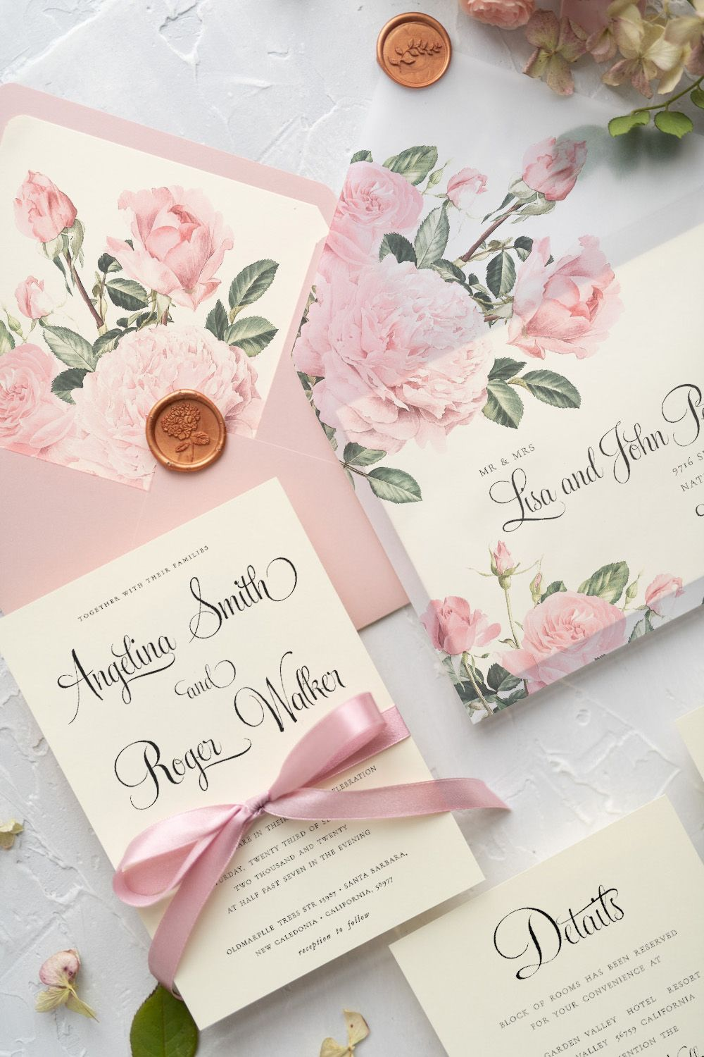 Elegant Personalized Wedding Invitations Garden Roses