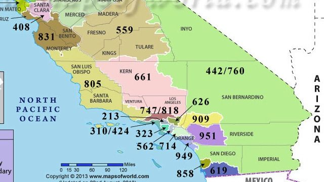 California map by area code