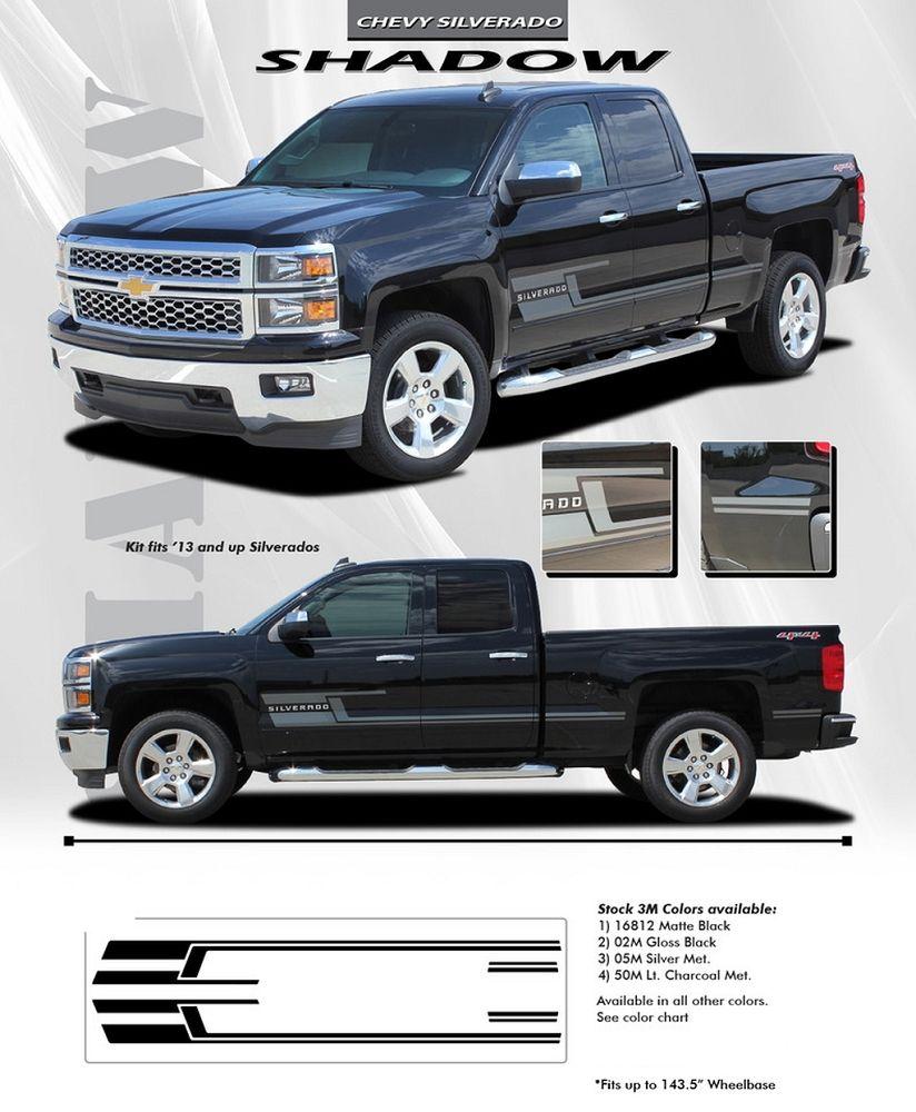 Chevy Silverado SHADOW Truck M Vinyl Graphics Stripes - Chevy decals for trucks
