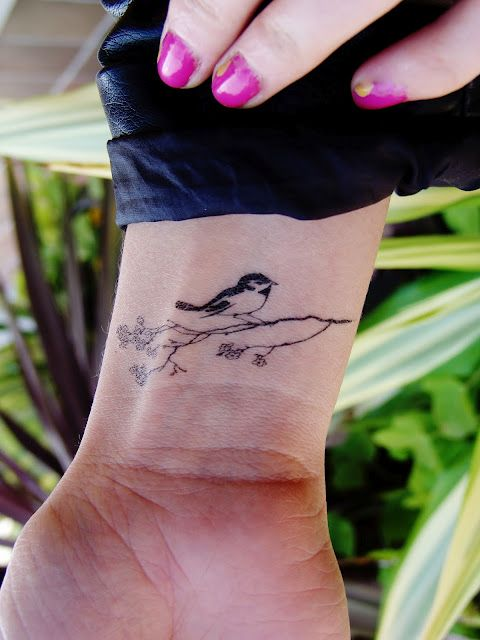 Simple Bird on A Branch Tattoo | Cool Tattoo Designs ...