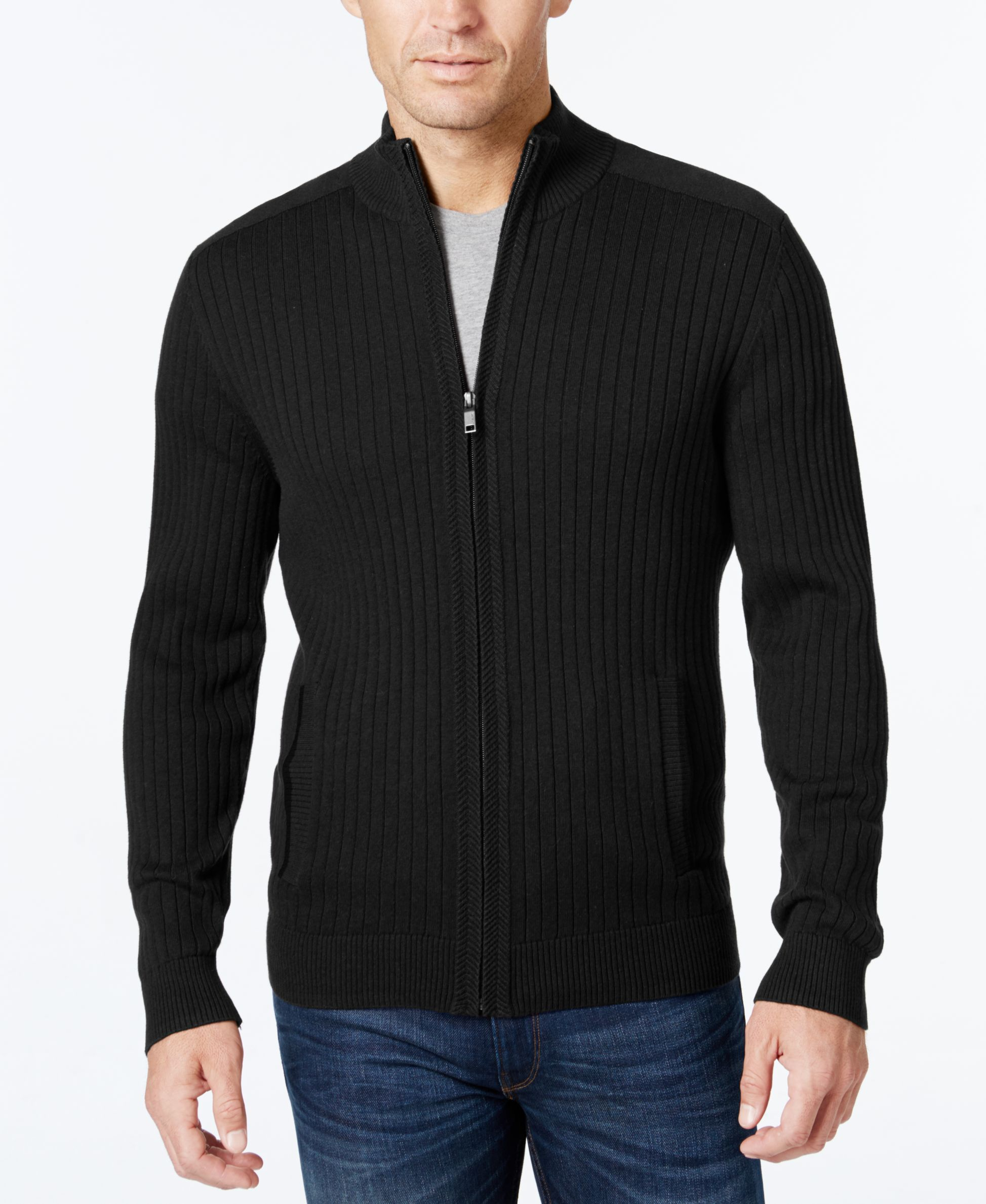 Alfani Men's Ribbed Full-Zip Sweater, Classic Fit, Created for ...