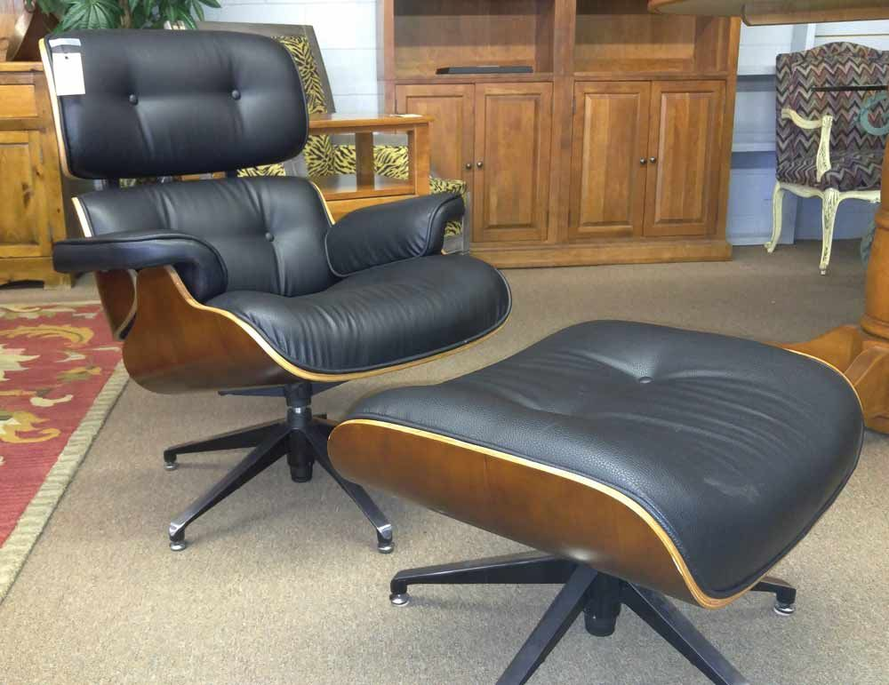 black leather club chair with ottoman