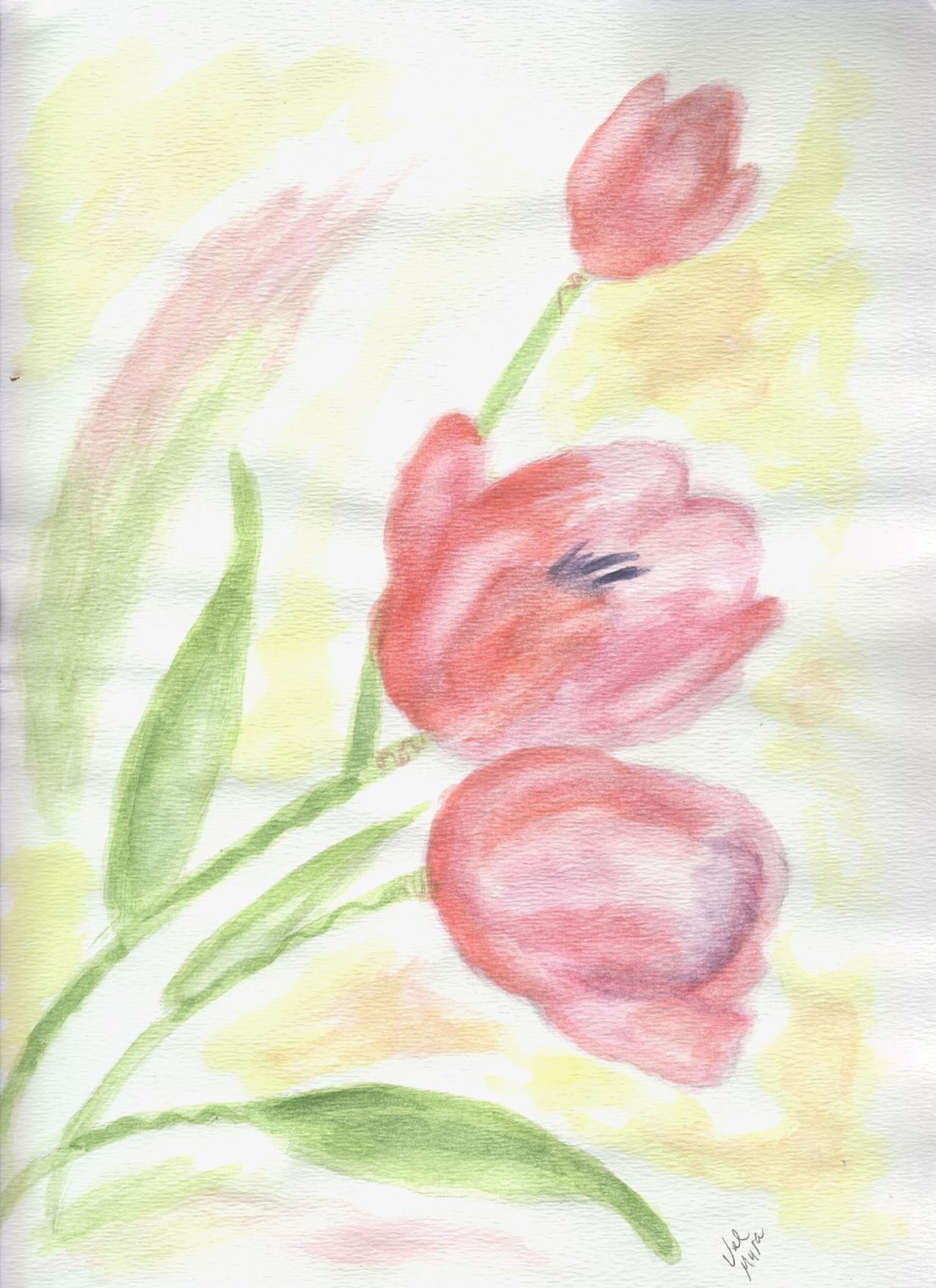 "My work. ""Tulips"" water color"