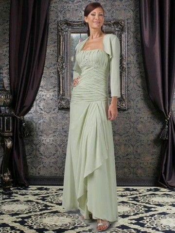 Sheath Column Strapless Ruffles Sleeveless Ankle Length Chiffon Sage Mother Of The Bride Dresses