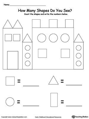 "Recognize And Count The Shapes In The Castle: Practice recognizing and counting basic shapes with My Teaching Station ""Recognize And Count The Shapes In The Castle"" printable worksheet."