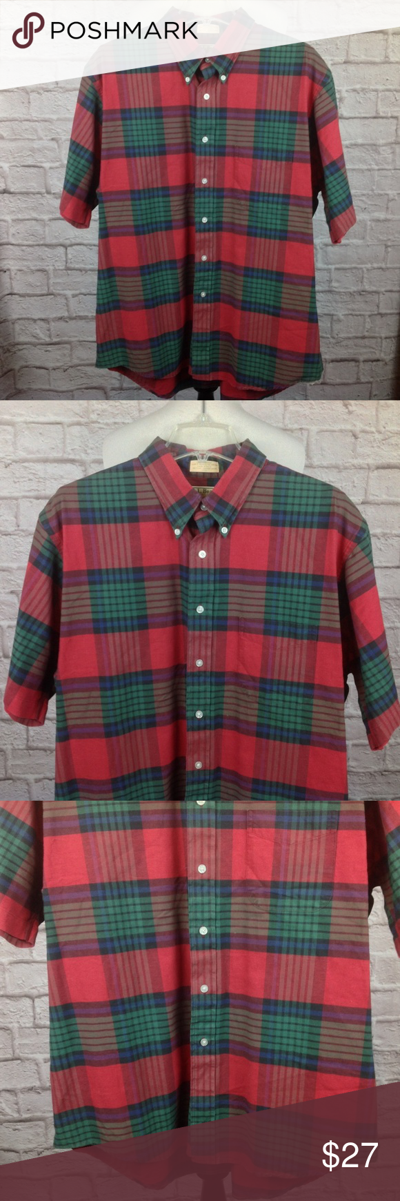 Purple flannel men  Vintage LL Bean Shirt Men XL   Red Plaid Great Condition
