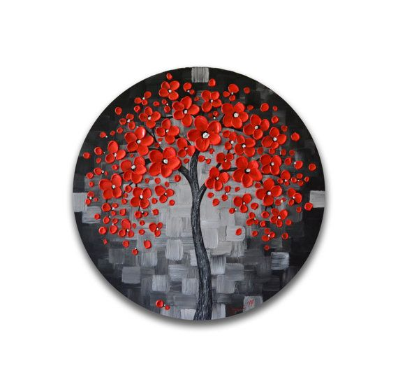 The red cherry blossom abstract tree painting is such a majestic piece. The red flowers on this contemporary round wall art were created using a palette knife, acrylic and impasto gel medium to give it a sculptural look with texture. Edges of this stunning 20 diameter round canvas art are painted in black. This one of a kind original contemporary artwork is wired and ready to hang on the wall. This is an original painting for the home or office and it requires NO framing.  A perfect gift for…