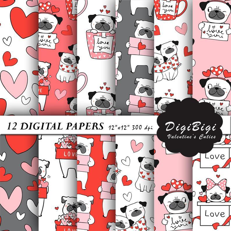 Abstractgem: Valentines Digital Paper, Cute Puppies Digital Paper