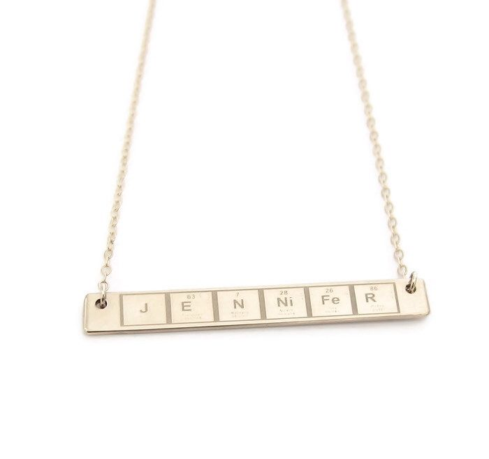 periodic table personalized necklace breaking bad necklace element gold bar necklace gold personalized nameplate - Periodic Table Name Plate