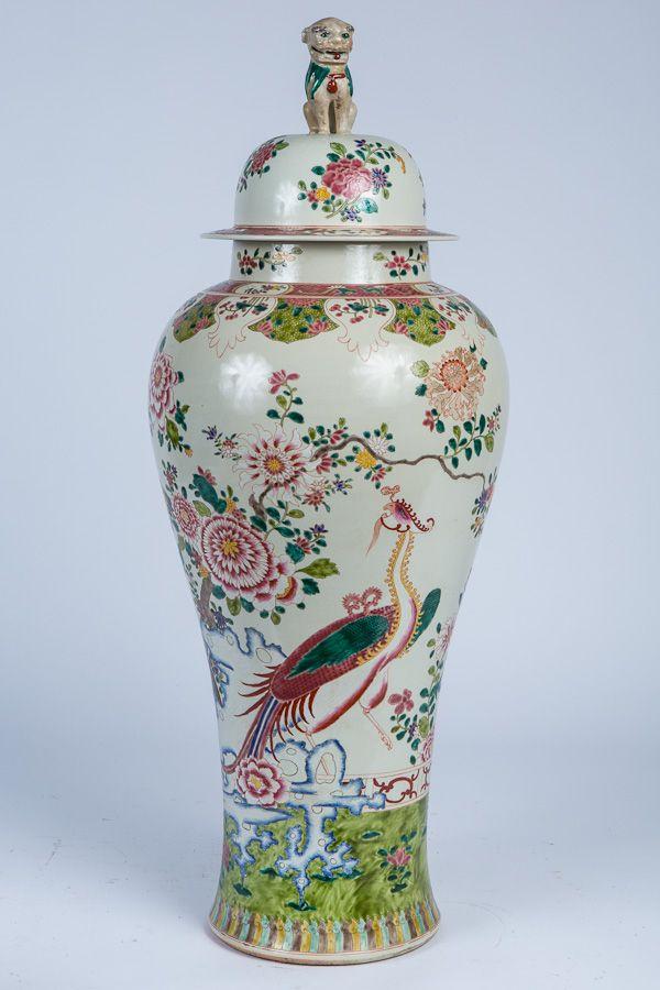 Large Chinese Famille Rose Porcelain Covered Vase Modern