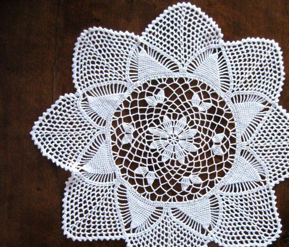 Round Crochet Doily Handmade White Crocheted by VintageDreamBox