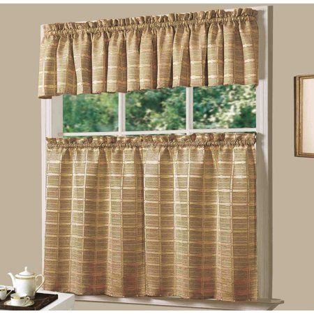 Dainty Home Kitchen Jeanette Curtain Set Set Of 3 Gold